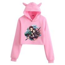 Demon Slayer Girls Popular Crop Top Hoodie Cat Ear Hooded Cute Crop Tops