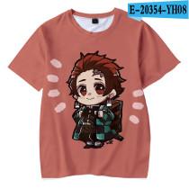 Demon Slayer Anime Merch Cartoon Character Print Youth Unisex Tee Short Sleeve Cute T-shirt