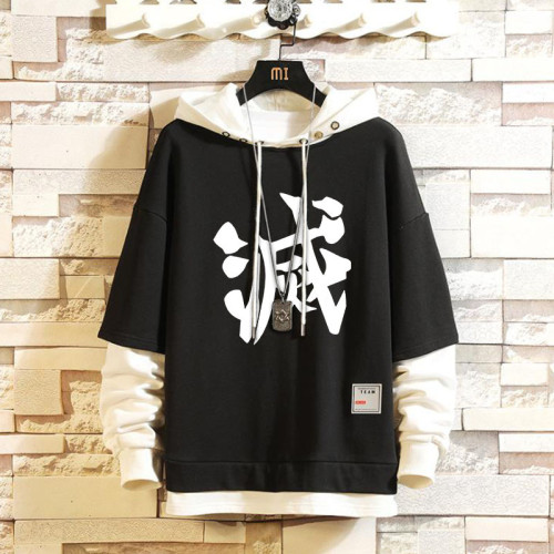 Demon Slayer Fake Two Piece Hoodie Casual Loose Black and White Hooded Sweatshirt Youth Popular Unisex Tops