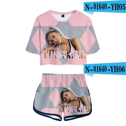Ariana Grande Fashion Loose Girls Women Crop Top T-shirt and Shorts 2 Pieces Set