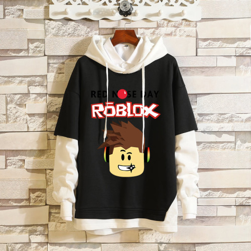 Roblox Youth Fake Two Piece Trendy Hoodie Fall Casual Confort Outfit Pullover Hooded Sweatshirt