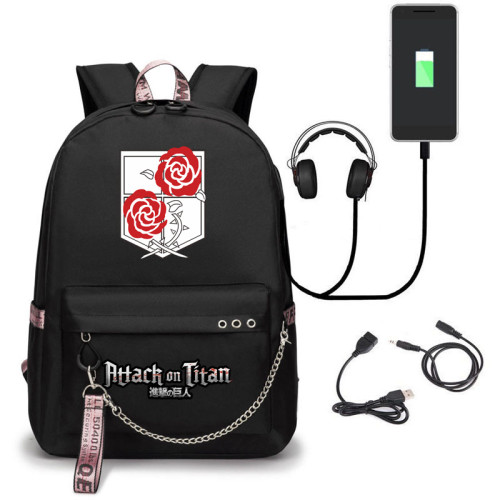 Anime Attack On Titan Kids Youth Backpack Unisex Girls Boys School Backpacks Bookbag With USB Interface