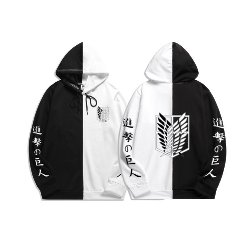Anime Attack On Titan Hoodie Black and White Stree Style Hip Hop Casual Hooded Sweatshirt Outfit