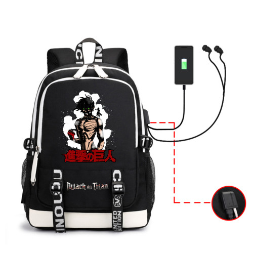 Anime Attack On Titan Backpack With USB Interface Stundents School Backpack Bookbag