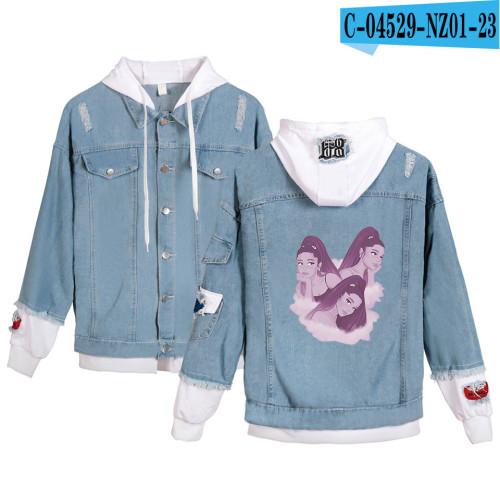 Ariana Grande Jean Jacket Fake Two Pieces Hooded Demin Zipper Jacket Coat