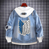 Anime Attack On Titan Jean Jacket Fake Two Piece Trendy Hooded Coat For Fall Winter