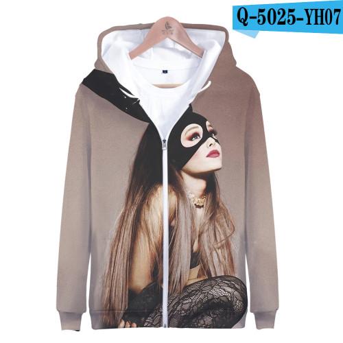Ariana Grande Fashion 3-D Print Unisex Long Sleeve Zipper Coat