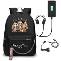 Anime Attack On Titan Backpack Students Bookbag With USB interface