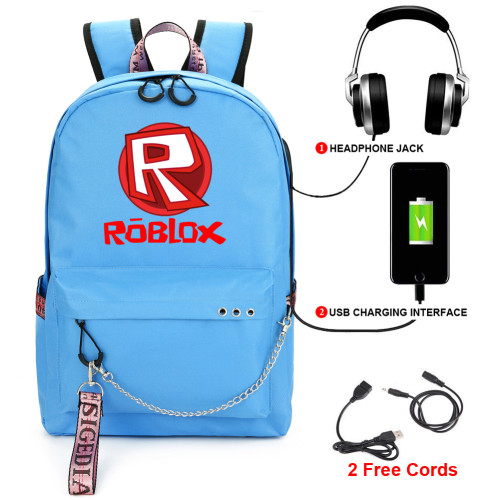 Roblox Youth Backpack School Bookbag With USB Charging Port