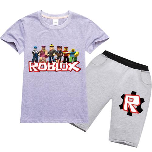 Roblox Kids Short Sleeve Tee and Shorts Set Summer Boys Girls Tee and Shorts Set