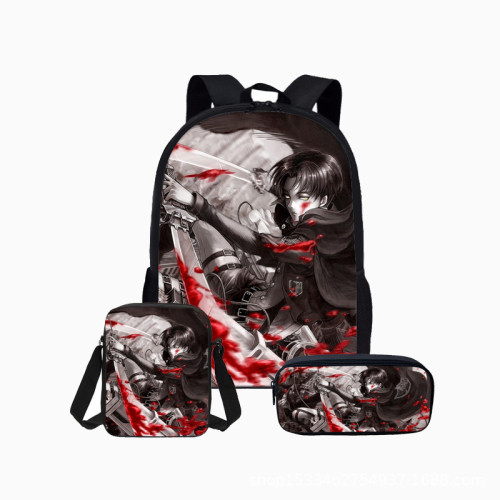 Anime Attack On Titan Backpack Set 3pcs Students School Bacpack With Lunch Bag and Pencil Bag Set