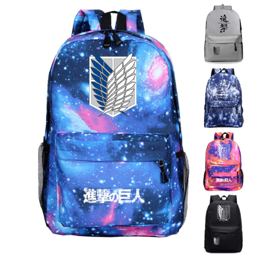 Anime Attack On Titan Backpack Students Backpacks Galaxy Color Trendy Bookbag
