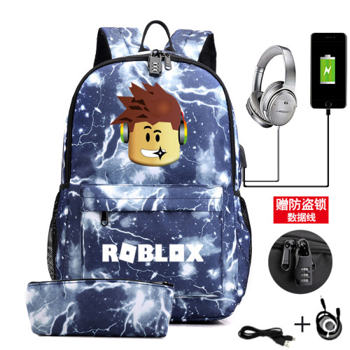 Roblox Galaxy Color Backpack Set 2pcs Bookbag With Pencil Bag Stundents Trendy Backpack Set With USB Charging Port