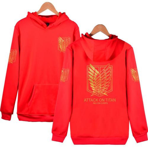 Anime Attack On Titan Hoodie Unisex Hooded Long Sleeve Sweatshirt With Golden Wings Of Freedom Print