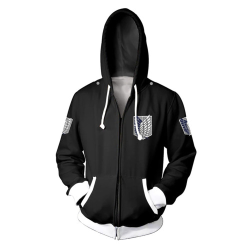 Anime Attack On Titan Wings Of Freedom Jacket Unisex Youth Adults Trendy Hoooded Zip Up Long Sleeve Coat Outfit
