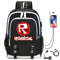 Roblox Students School Backpack With USB Chagring Port Kids Youth Unisex Bookbag