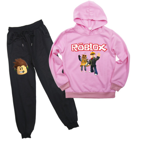 Roblox Kids Fall Cotton Sweatsuit Casual Hooded Sweatshirt and Sweatpants Set Unisex For Girls Boys