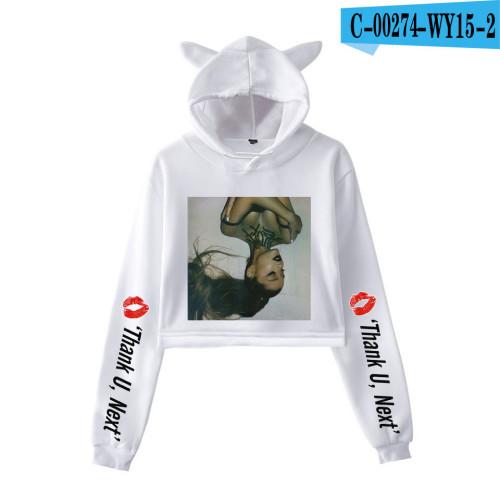 Ariana Grande Fashion Hoodie Girls Women Crop Top Cute Cat Ear Hooded Sweatshirt
