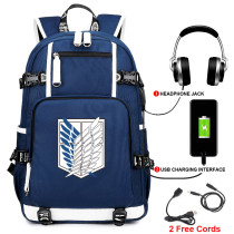 Anime Attack On Titan Big Capacity Backpack Unisex Kids Youth Bookbag Travel Bag With USB Charging Port