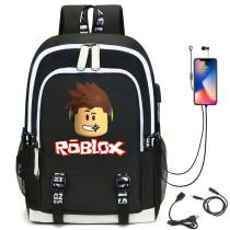 Roblox Kids Youth Big Capacity Backpack Girls Boys Rucksack Travel Backpack Bookbag Computer Backpack With USB Charging Port