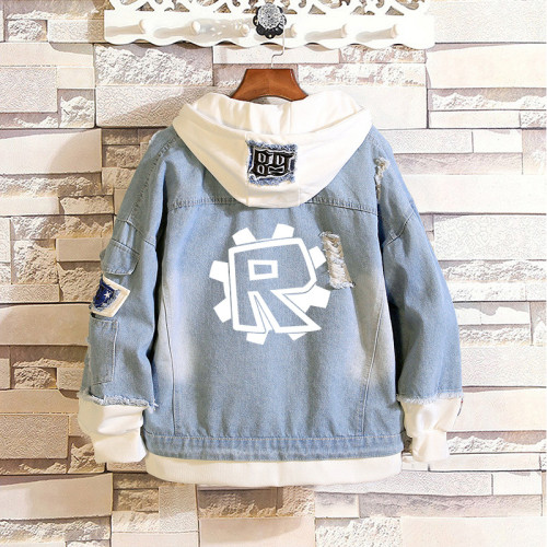 Roblox Youth Adults Fake Two Piece Jean Jacket Trendy Hooded Denim Jacket Coat Outfit