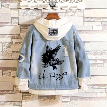 Lil Peep Trendy Street Style Jacket Denim Hooded Fake-two-piece Coat Unisex Hip Hop Outfit