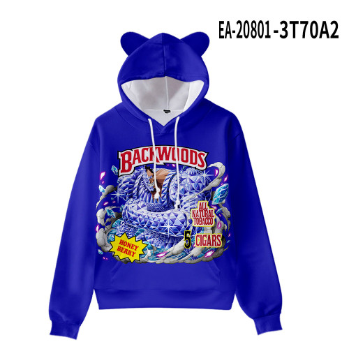 Backwoods Hoodie Kids Girls Boys Cat Ear Hooded Trendy Sweatshirt