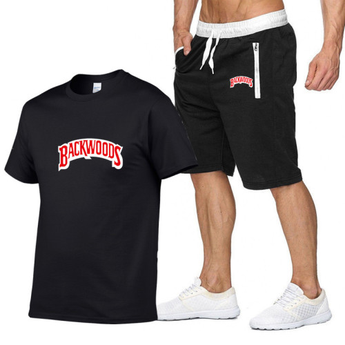 Backwoods Summer Casual Mens 2 Pieces Short Sleeves T-shirt and shorts Suit