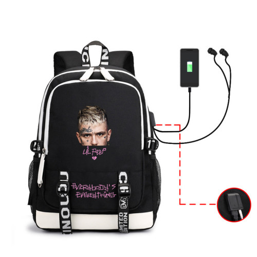 Lil Peep Students Backpack Bookbag Compuert Backpack With USB interface