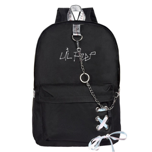 Lil Peep Students Backpack Bookbag With Chain Decor Youth Teens School Backpack