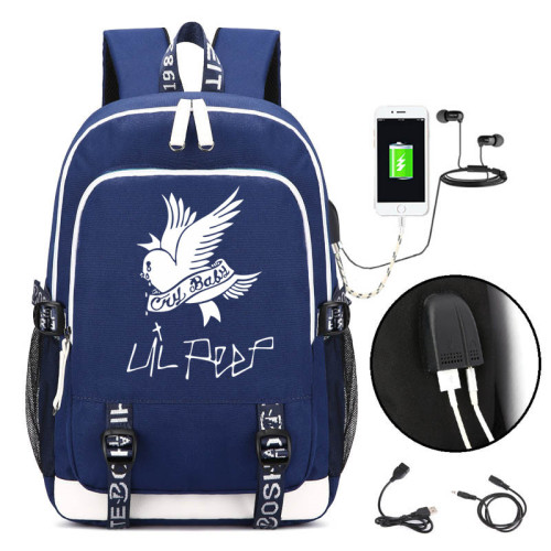 Lil Peep Backpack Students School Backpack With USB Charging Port