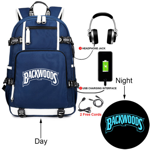 Backwoods Students Backpack School Book Bag Big Capacity Travel Bag With USB Charging Port Glow In Dark