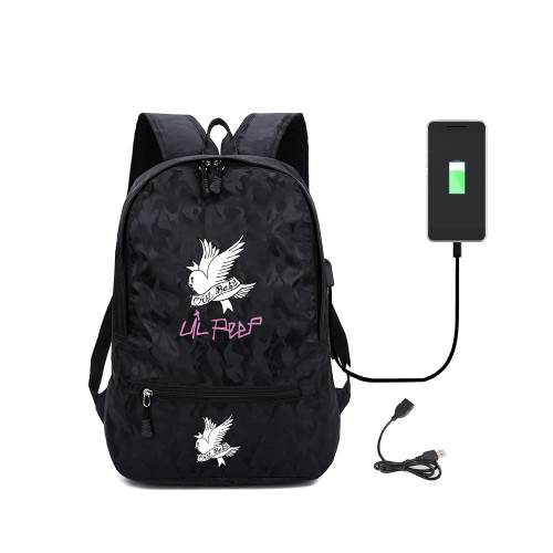 Lil Peep Trendy Youth Backpack Girls Boys Popular School Backpack Bookbag With USB interface