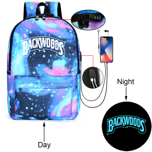 Backwoods Fashion Backpack School Book Bag With USB Charging Port Glow In Dark