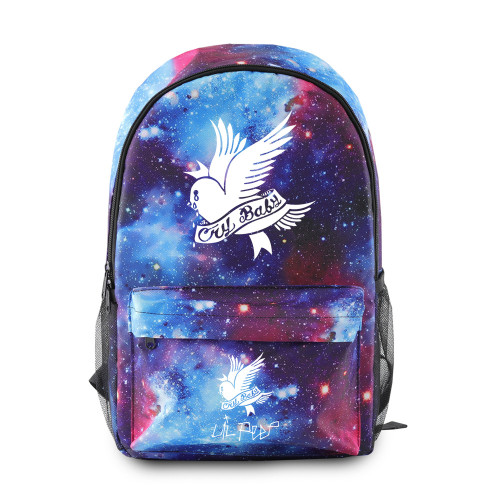 Lil Peep Galaxy Color Backpack Cool Teens School Backpack Bookbag With USB interface