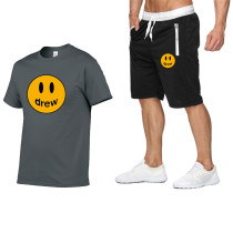 Drew Smiley Face Print Trendy T-shirt and Shorts Unisex Suit