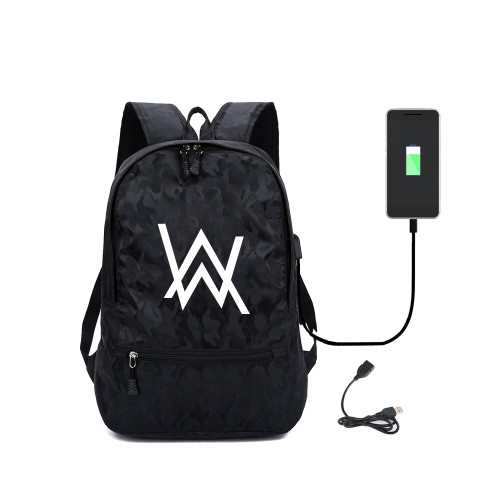 Alan Walker Backpack With USB interface Students School Backpack Computer Backpack