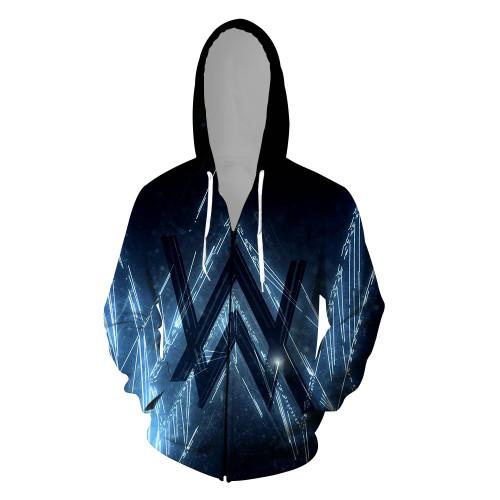 Alan Walker 3-D Zipper Jacket Unisex Zip Up Hooded Coat Unisex