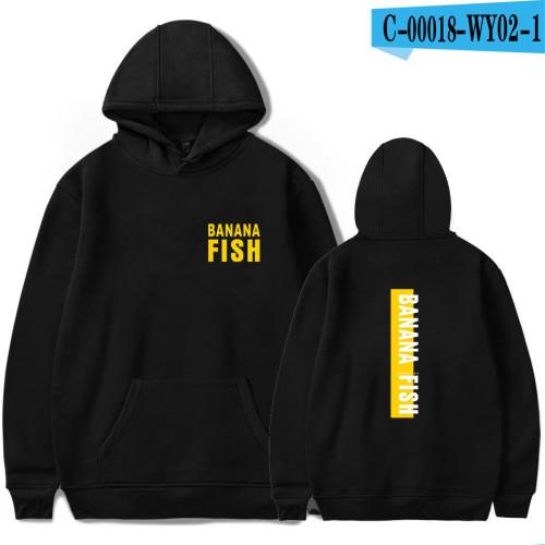 Anime Banana Fish Casual Hoodie Youth Teens Loose Fit Hooded Long Sleeve Sweatshirt