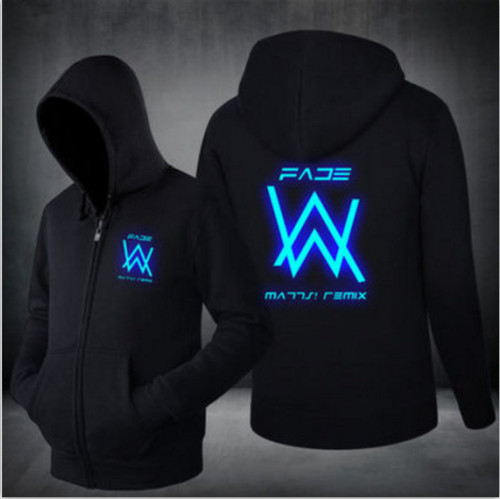 Alan Walker Glow In The Dark Zipper Jacket Unisex Zip Up Hooded Long Sleeve Coat