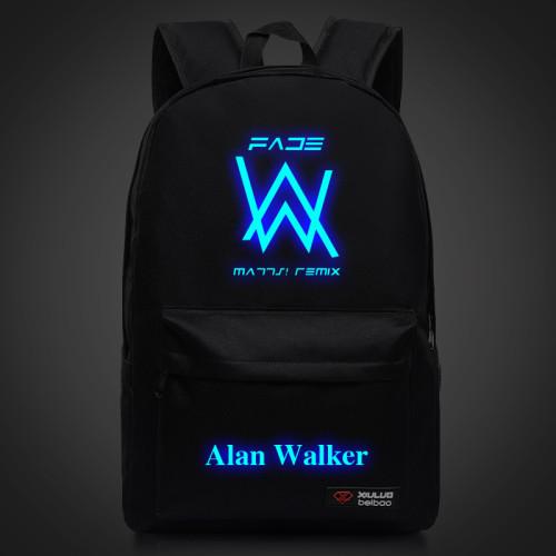 Alan Walker Faded Backpack Shcool Bookbag Glow In The Dark