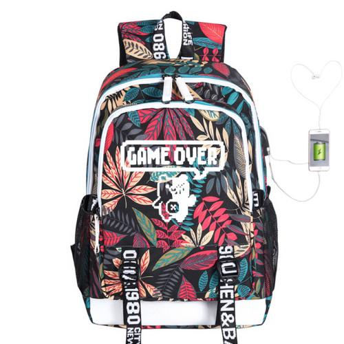 Danganronpa Big Capacity Rucksack Travel Backpack With USB Charging Port Students School Backpack