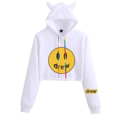 Drew Smiley Face Cat Ears Hooded Crop Tops Girls Long Sleeve Pullover Crop Top Hoodie