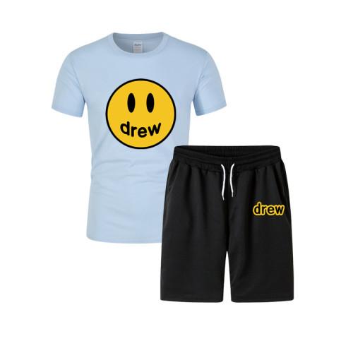 Drew Smiley Face Print Fashion T-shirt and Shorts Suit Unisex 2 Pieces Set