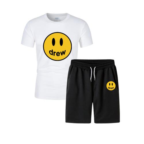 Drew Smiley Face Print T-shirt and Shorts Suit Trendy 2 Pieces Set