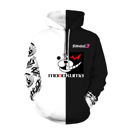 Danganronpa Monokuma Black and White Hoodie Casual Fit Unisex Sweatshirt Long Sleeve Tops
