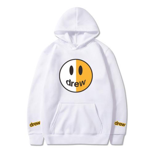 Half White And Half Yellow Drew Smile Face Hoodie Unisex Fashion Hoodie
