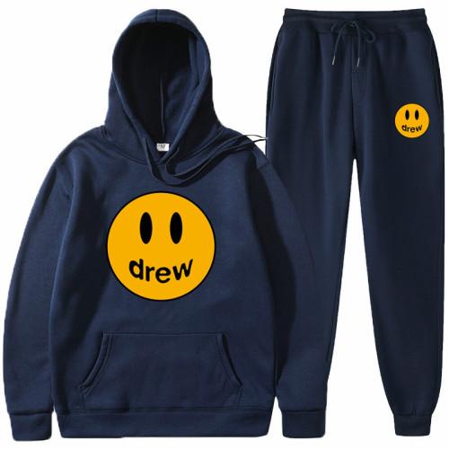 Drew Smiley Face Print Hoodie and Sweatshirt Suit 2 Pieces Sweatshirt and Jogger Pants