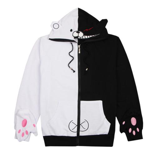 Danganronpa Hoodie Monokuma Black and White Hooded Sweatshirt Zip Up Jacket Cosplay Costume Coat