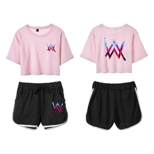 Alan Walker Girls Short Suits Crop Top Tee and Shorts Set
